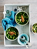 Cold cucumber soup with crispy prawn heads for Christmas