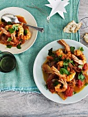 Deep-fried prawns with pot-roasted saffron vegetables (Christmassy)