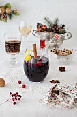 Glass of Mulled Wine in Christmas Setting