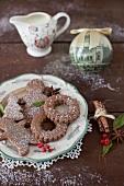 Chocolate Coffee Christmas Cookies on a Christmas Platter