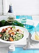 Bulgur salad with smoked salmon