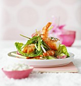 Scampi salad with a horseradish dressing for Easter