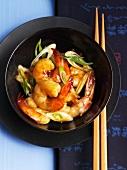 Wok-fried prawns