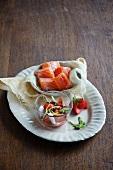 Smoked salmon with strawberry salsa