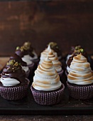 Coffee cupcakes with Irish Cream liqueur and marshmallow topping