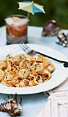Colourful pasta with prawns and a garlic and cream sauce