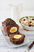 Egg Meatloaf with Cranberry Cole Slaw