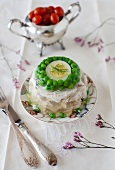Chicken Aspic with Green Peas and Egg