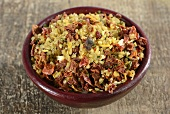 A ready-made mix of bulgur with dried vegetables and seasoning
