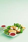 Green curry chicken spring rolls