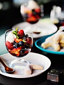 Summer berries with mascarpone and shiso sorbet and five-spiced shortbread