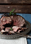 Roasted Lamb with Herbs and Pomegranate