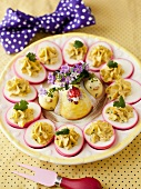 Purple Deviled Eggs on a Platter