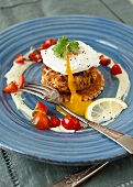 Crab Cakes with Egg and Cherry Tomatoes