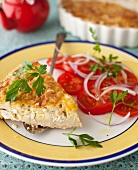 Smoked Rainbow Trout and Mushroom Quiche with Tomato Salad