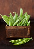 Pea Pods in a Box; One Pod Split Open
