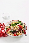 Pasta salad with chicken and beetroot