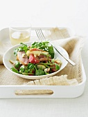 Salad with smoked duck breast and pears