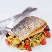Pan Fried Sea Bass With Tagliatelle