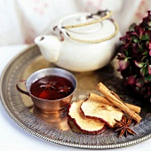 Spicy Tea in Pot with Cinnamon and Star Anise