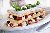 Layers of puff pastry with Chantilly cream and fresh Summer berries