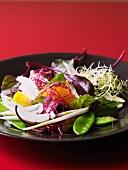 Lettuce with mustard dressing, radish shoots, garlic, fennel and orange