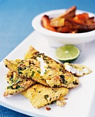 Fish fillets with a herb crust