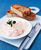Smoked trout pate and slices of bread