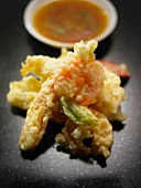 Prawns and vegetables in tempura batter