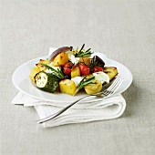 Roasted vegetables with rosemary and Goats cheese