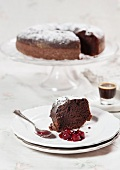 Chocolate cake with cherry compote