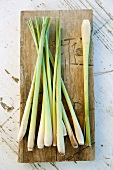 Lemon grass on a wooden board