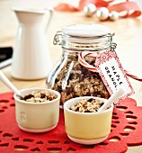 Homemade Maple Granola in a Gift Jar and in Two Bowls