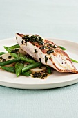Grilled kingfish with green beans