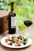 Mozzarella salad with tomatoes, olives and basil, served with red wine