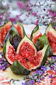 Baked figs with honey and lavender flowers