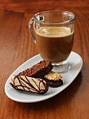 Coffee with chocolate biscuits