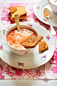 Stewed rhubarb with milk and biscuits