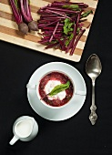 Polish beet green soup with cream