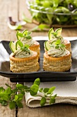 Vol au vent primavera (pastries filled with courgette and cheese mousse)