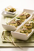 Rolled courgette slices with a tuna and caper filling