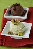 Chocolate and pistachio ice cream