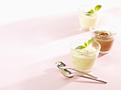 Vanilla pudding and chocolate pudding in glasses