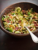 A salad of Brussels sprouts and bacon