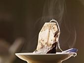 A steaming teabag