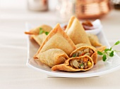 Samosas (pastry parcels, India) with vegetable filling