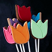 Tulip-shaped biscuits on sticks