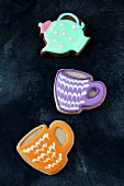 Biscuits in the shape of cups and teapots