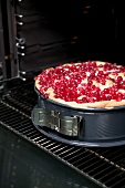 Redcurrant cake in a spring-form cake tin