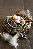 A chocolate cornflake nest for Easter